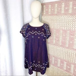 Free People In The Clouds Embroidered Embellished Tunic Top Women's Size XS